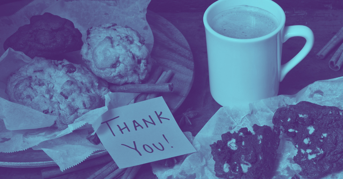 blue thanks note on food delivery